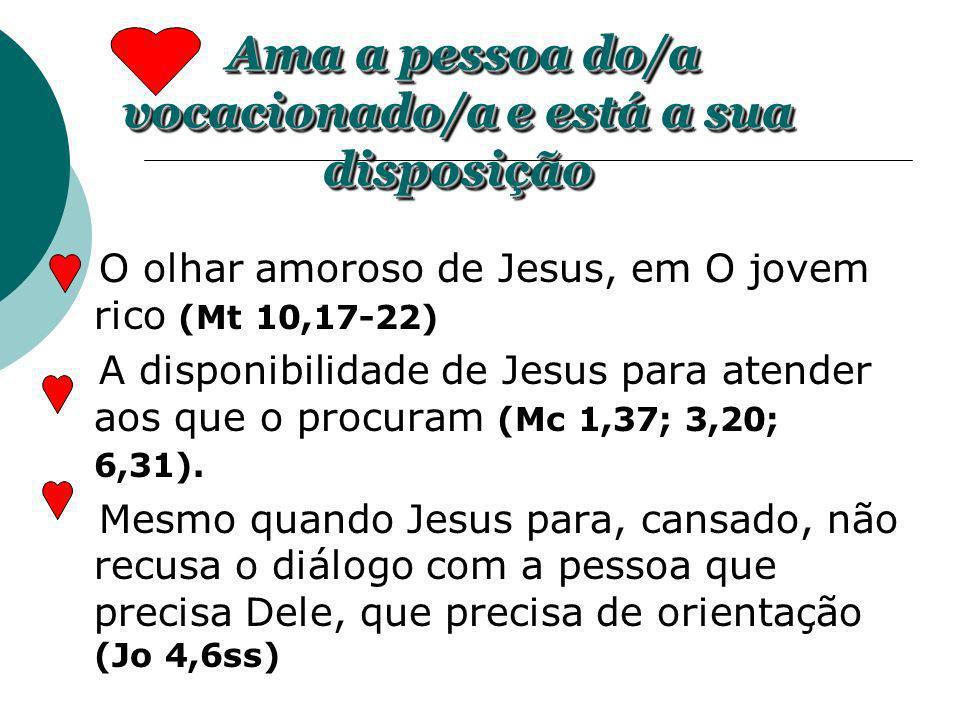 O olhar amoroso de Jesus, em O jovem rico (Mt 10,17-22) A disponibilidade de Jesus para atender aos que o procuram (Mc 1,37; 3,20; 6,31). Mesmo quando
