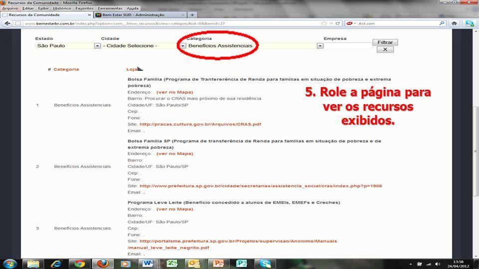 5. Role a página para ver os recursos exibidos.