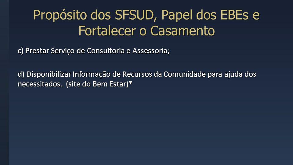 Propósito dos SFSUD, Papel dos EBEs e Fortalecer o Casamento c) Prestar Serviço de Consultoria e Assessoria; d) Disponibilizar Informação de Recursos