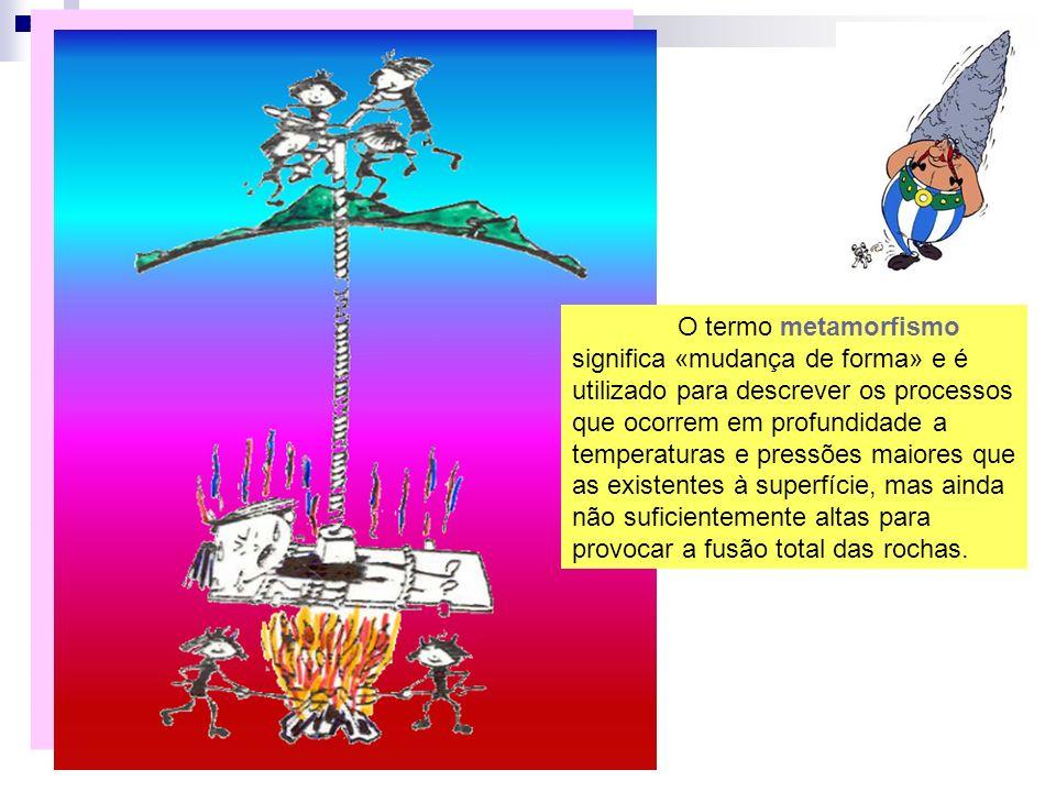 O termo metamorfismo significa «mudança de forma» e é utilizado para descrever os processos que ocorrem em profundidade a temperaturas e pressões maio