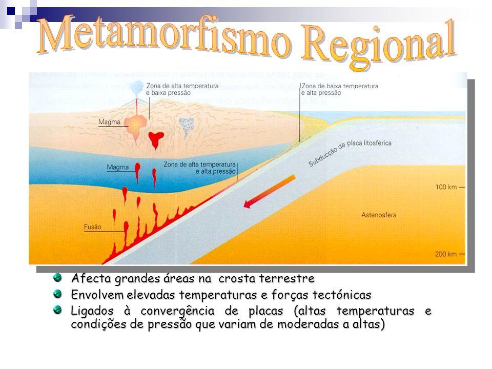 Afecta grandes áreas na crosta terrestre Envolvem elevadas temperaturas e forças tectónicas Ligados à convergência de placas (altas temperaturas e con