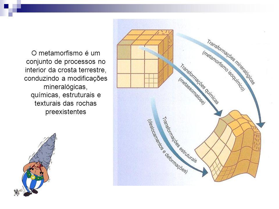 O metamorfismo é um conjunto de processos no interior da crosta terrestre, conduzindo a modificações mineralógicas, químicas, estruturais e texturais