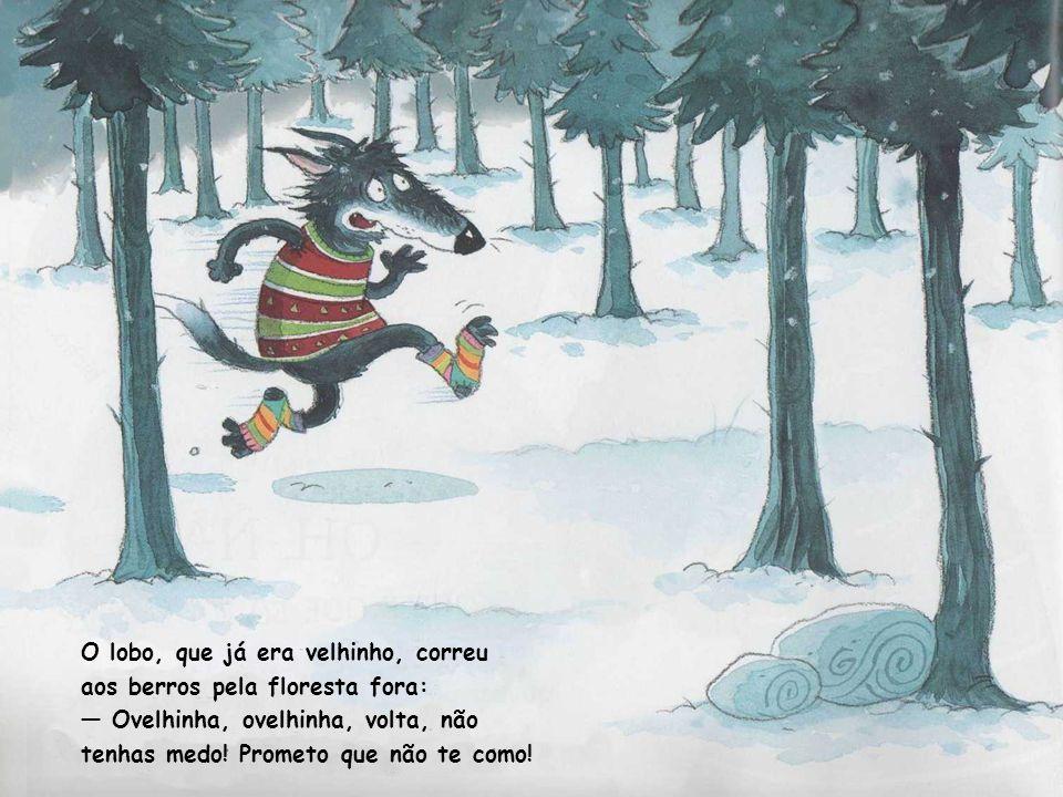 O lobo, que já era velhinho, correu aos berros pela floresta fora: Ovelhinha, ovelhinha, volta, não tenhas medo.