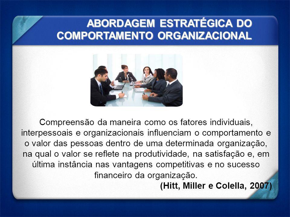 ABORDAGEM ESTRATÉGICA DO COMPORTAMENTO ORGANIZACIONAL Compreensão da maneira como os fatores individuais, interpessoais e organizacionais influenciam