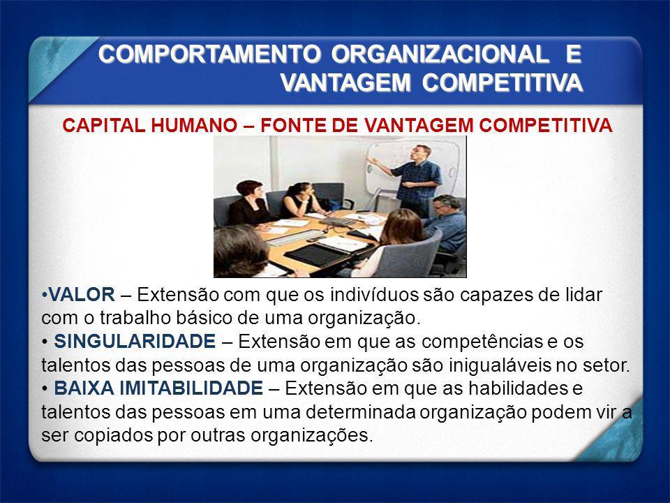COMPORTAMENTO ORGANIZACIONAL E VANTAGEM COMPETITIVA CAPITAL HUMANO – FONTE DE VANTAGEM COMPETITIVA VALOR – Extensão com que os indivíduos são capazes de lidar com o trabalho básico de uma organização.