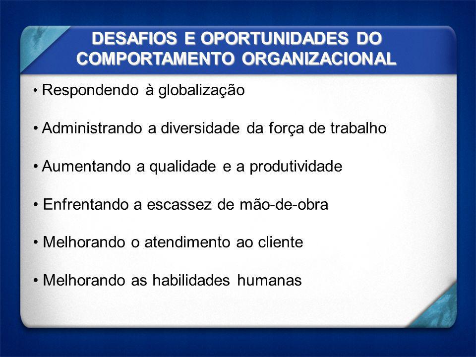DESAFIOS E OPORTUNIDADES DO COMPORTAMENTO ORGANIZACIONAL Respondendo à globalização Administrando a diversidade da força de trabalho Aumentando a qual