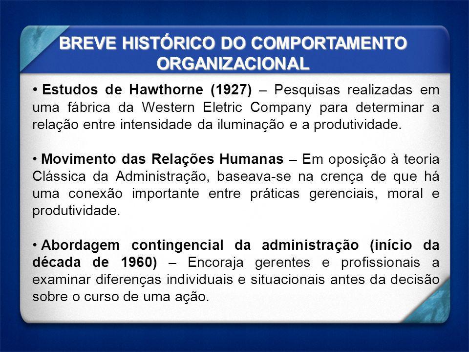 BREVE HISTÓRICO DO COMPORTAMENTO ORGANIZACIONAL Estudos de Hawthorne (1927) – Pesquisas realizadas em uma fábrica da Western Eletric Company para dete