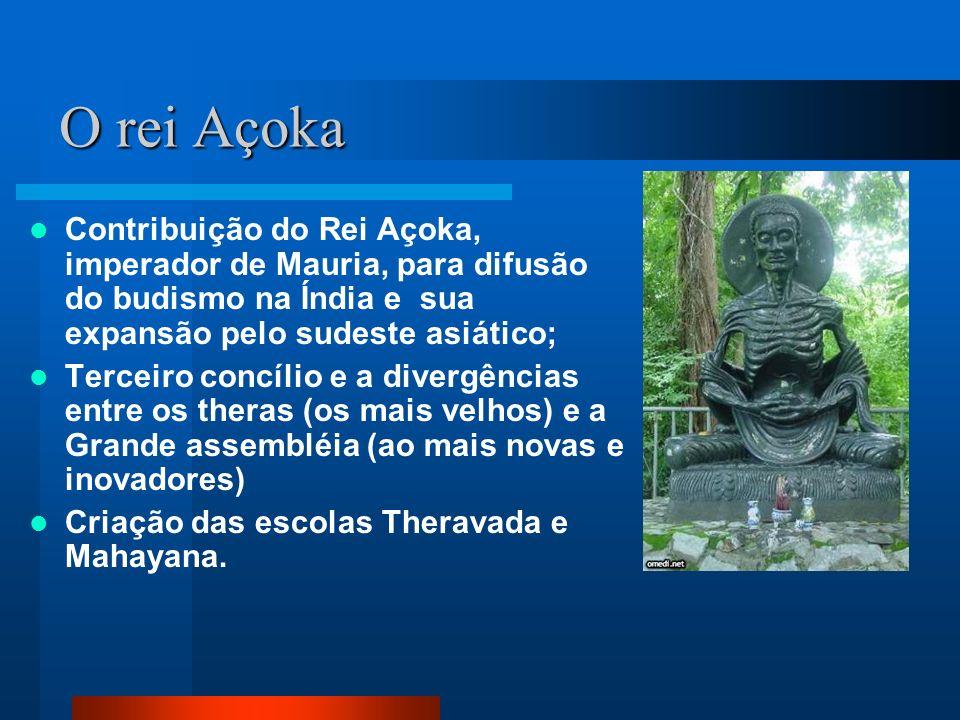O rei Açoka Contribuição do Rei Açoka, imperador de Mauria, para difusão do budismo na Índia e sua expansão pelo sudeste asiático; Terceiro concílio e