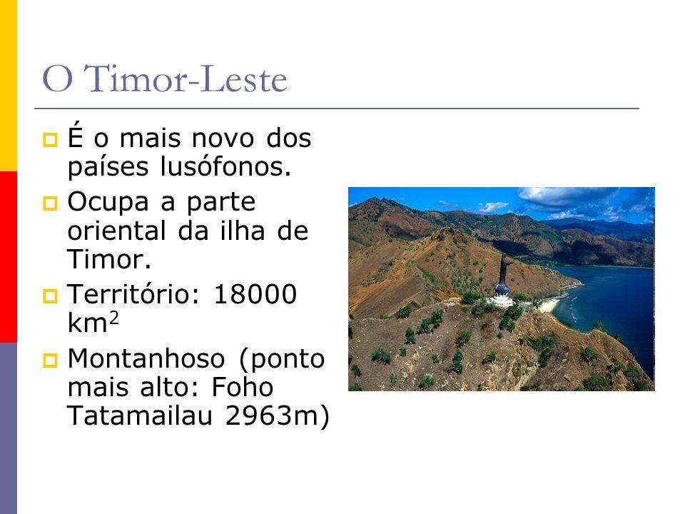 É o mais novo dos países lusófonos. Ocupa a parte oriental da ilha de Timor. Território: 18000 km 2 Montanhoso (ponto mais alto: Foho Tatamailau 2963m