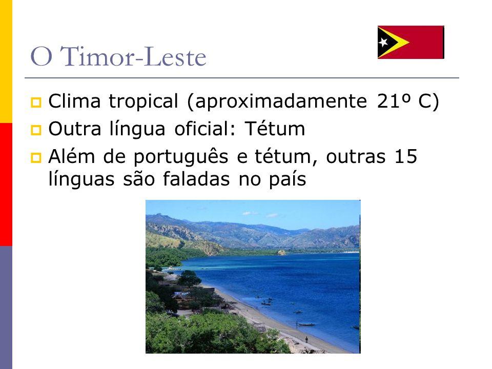 O Timor-Leste Clima tropical (aproximadamente 21º C) Outra língua oficial: Tétum Além de português e tétum, outras 15 línguas são faladas no país