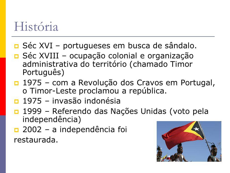 História Séc XVI – portugueses em busca de sândalo. Séc XVIII – ocupação colonial e organização administrativa do território (chamado Timor Português)