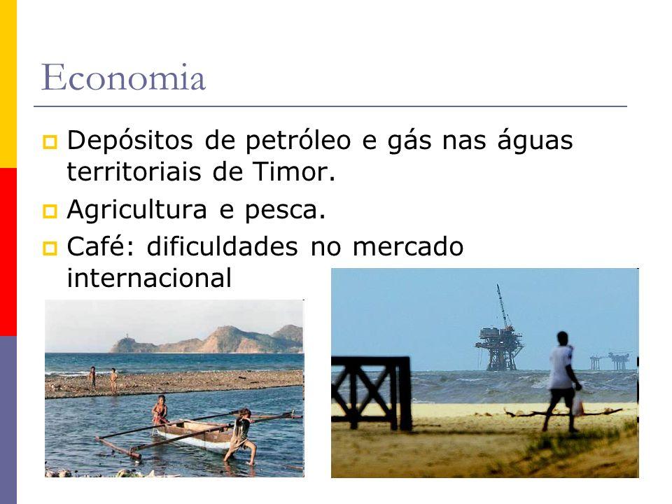 Economia Depósitos de petróleo e gás nas águas territoriais de Timor. Agricultura e pesca. Café: dificuldades no mercado internacional
