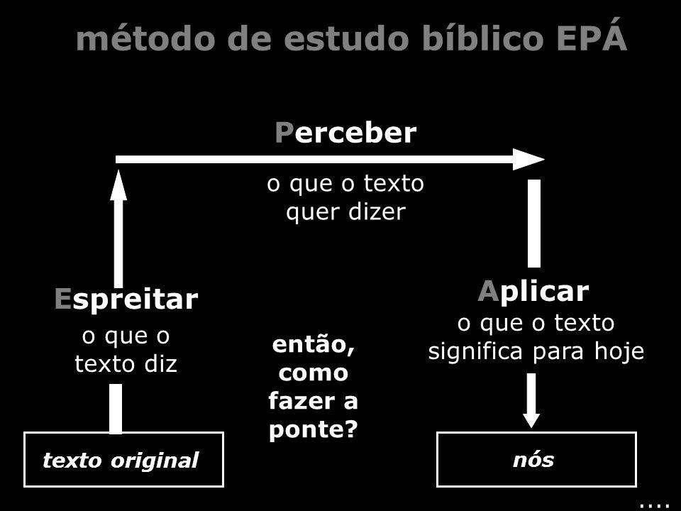 .... Espreitar Perceber Aplicar o que o texto diz o que o texto quer dizer o que o texto significa para hoje texto original nós método de estudo bíbli