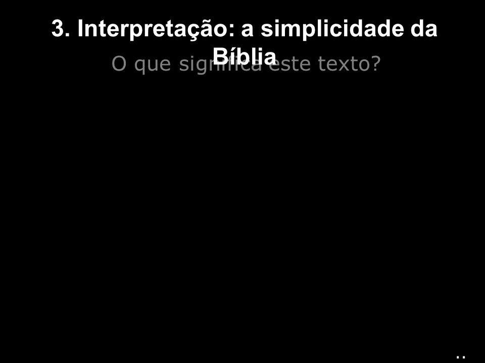 O que significa este texto? 3. Interpretação: a simplicidade da Bíblia