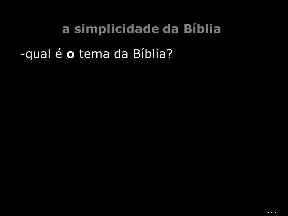 ... a simplicidade da Bíblia -qual é o tema da Bíblia?