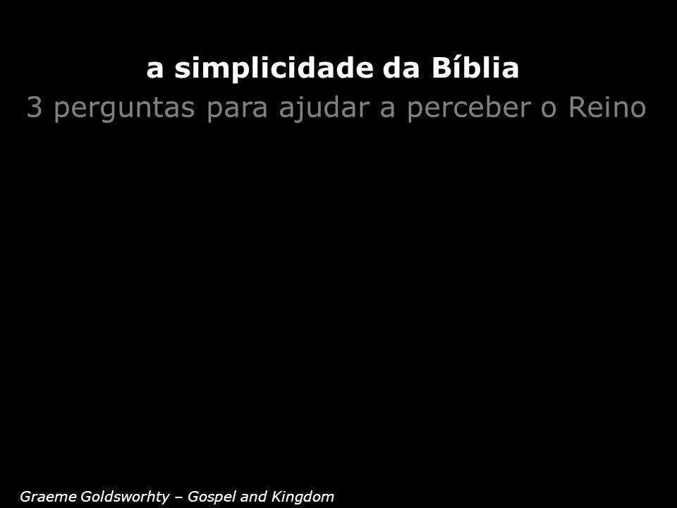 3 perguntas para ajudar a perceber o Reino Graeme Goldsworhty – Gospel and Kingdom a simplicidade da Bíblia