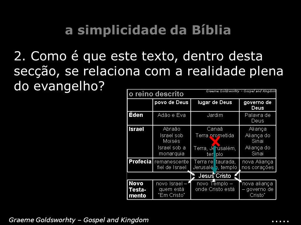 ..... Graeme Goldsworhty – Gospel and Kingdom 2. Como é que este texto, dentro desta secção, se relaciona com a realidade plena do evangelho? a simpli
