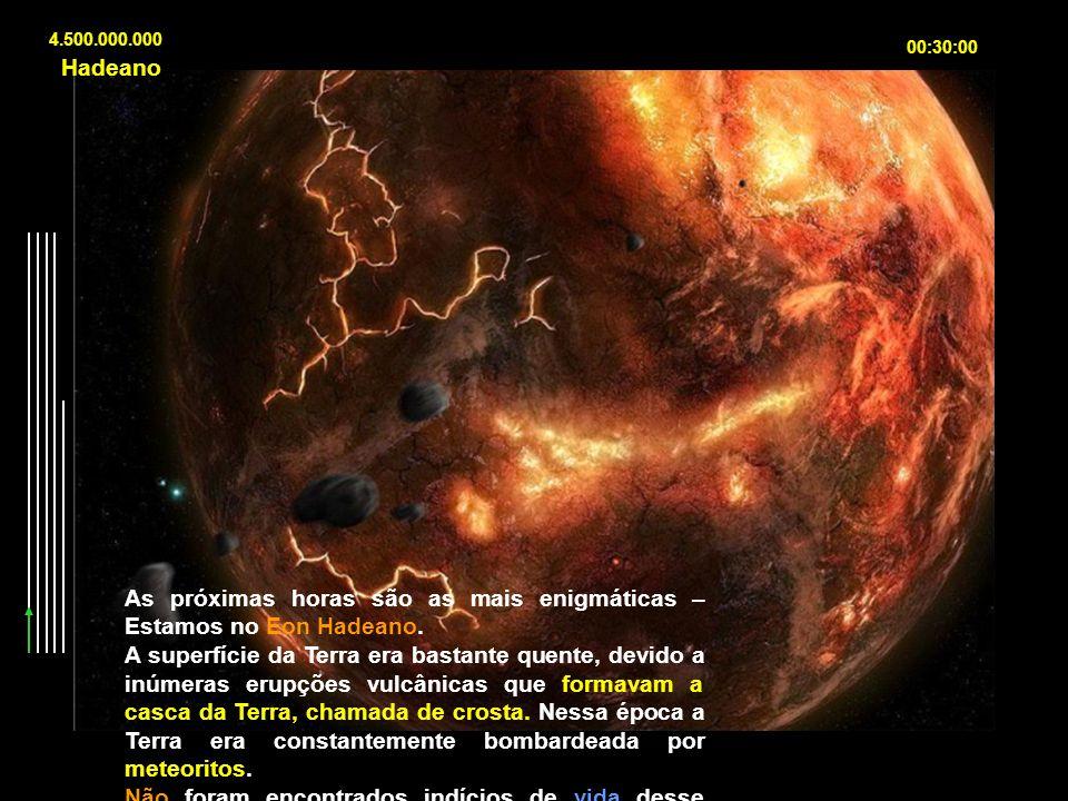 4.500.000.000 00:30:00 As próximas horas são as mais enigmáticas – Estamos no Eon Hadeano. A superfície da Terra era bastante quente, devido a inúmera