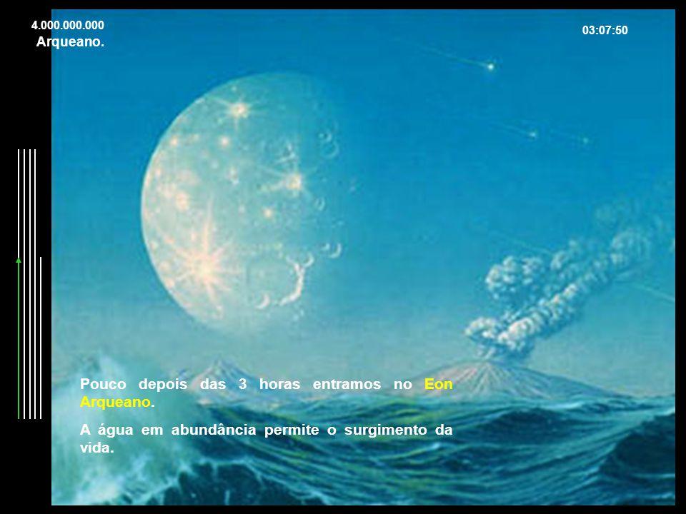4.000.000.000 03:07:50 Pouco depois das 3 horas entramos no Eon Arqueano. A água em abundância permite o surgimento da vida. Arqueano.