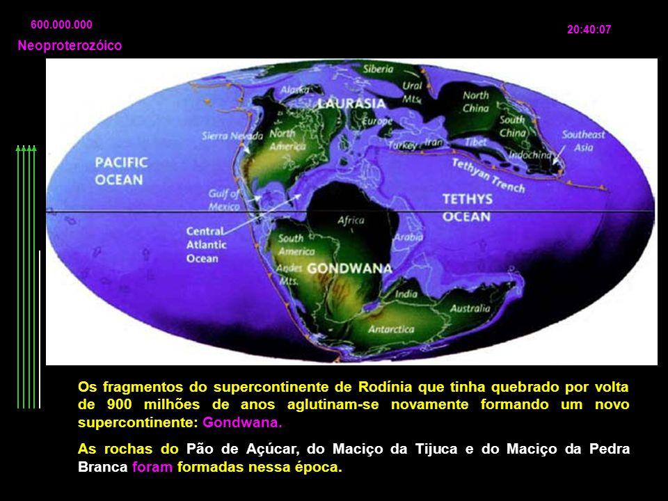 600.000.000 20:40:07 Os fragmentos do supercontinente de Rodínia que tinha quebrado por volta de 900 milhões de anos aglutinam-se novamente formando u