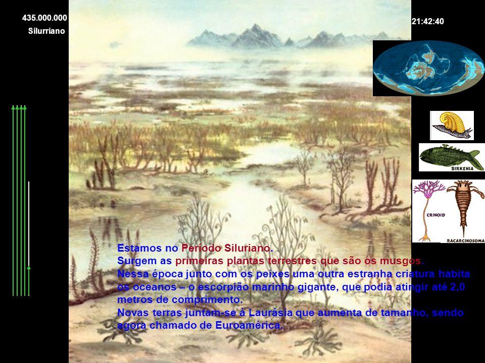 Estamos no Período Siluriano. Surgem as primeiras plantas terrestres que são os musgos. Nessa época junto com os peixes uma outra estranha criatura ha