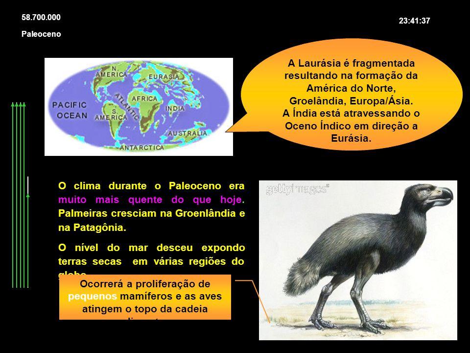 58.700.000 23:41:37 A Laurásia é fragmentada resultando na formação da América do Norte, Groelândia, Europa/Ásia. A Índia está atravessando o Oceno Ín