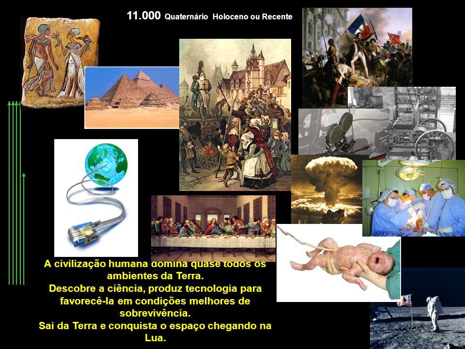 11.000 Quaternário Holoceno ou Recente A civilização humana domina quase todos os ambientes da Terra. Descobre a ciência, produz tecnologia para favor