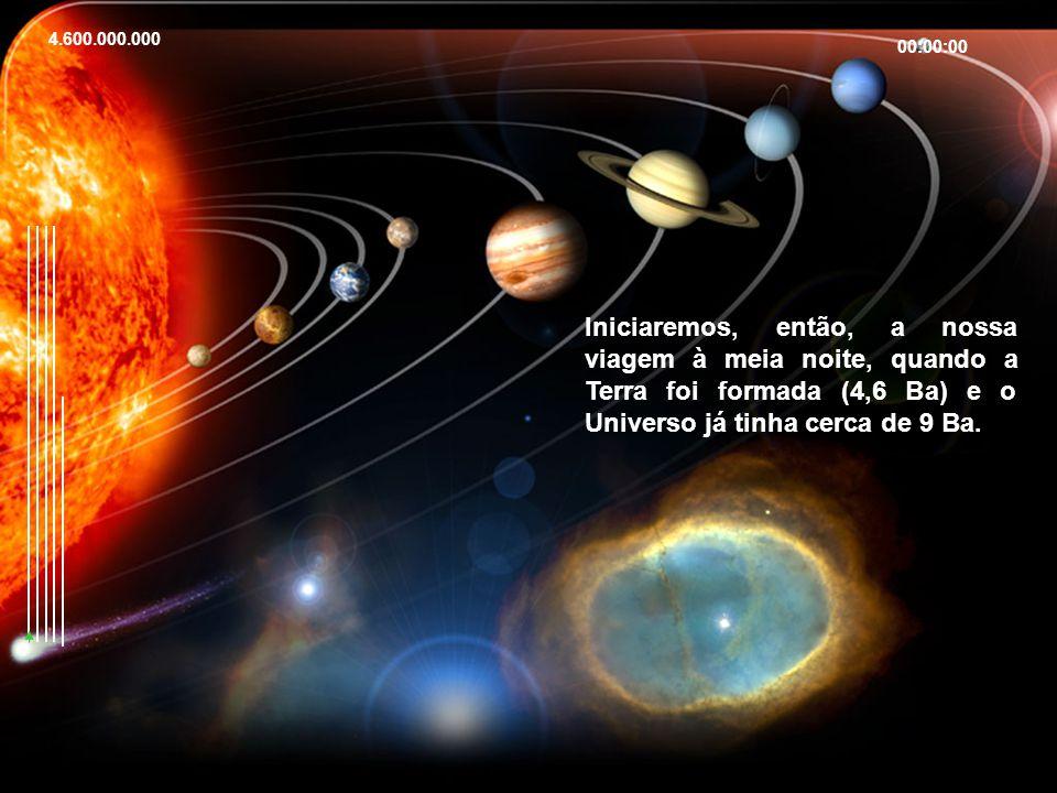 4.600.000.000 00:00:00 Iniciaremos, então, a nossa viagem à meia noite, quando a Terra foi formada (4,6 Ba) e o Universo já tinha cerca de 9 Ba.