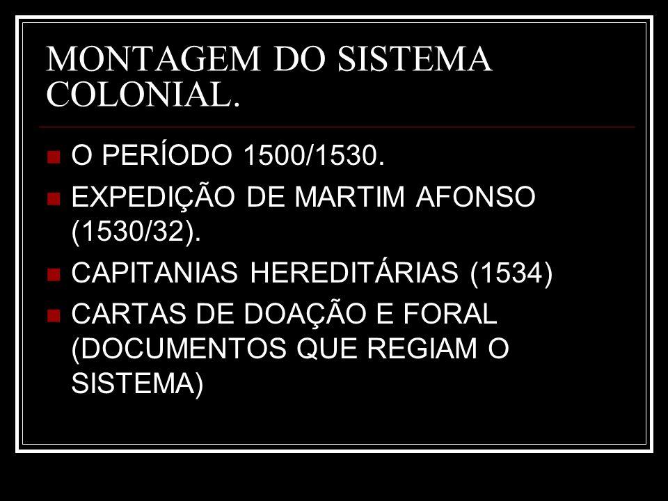 MONTAGEM DO SISTEMA COLONIAL.O PERÍODO 1500/1530.
