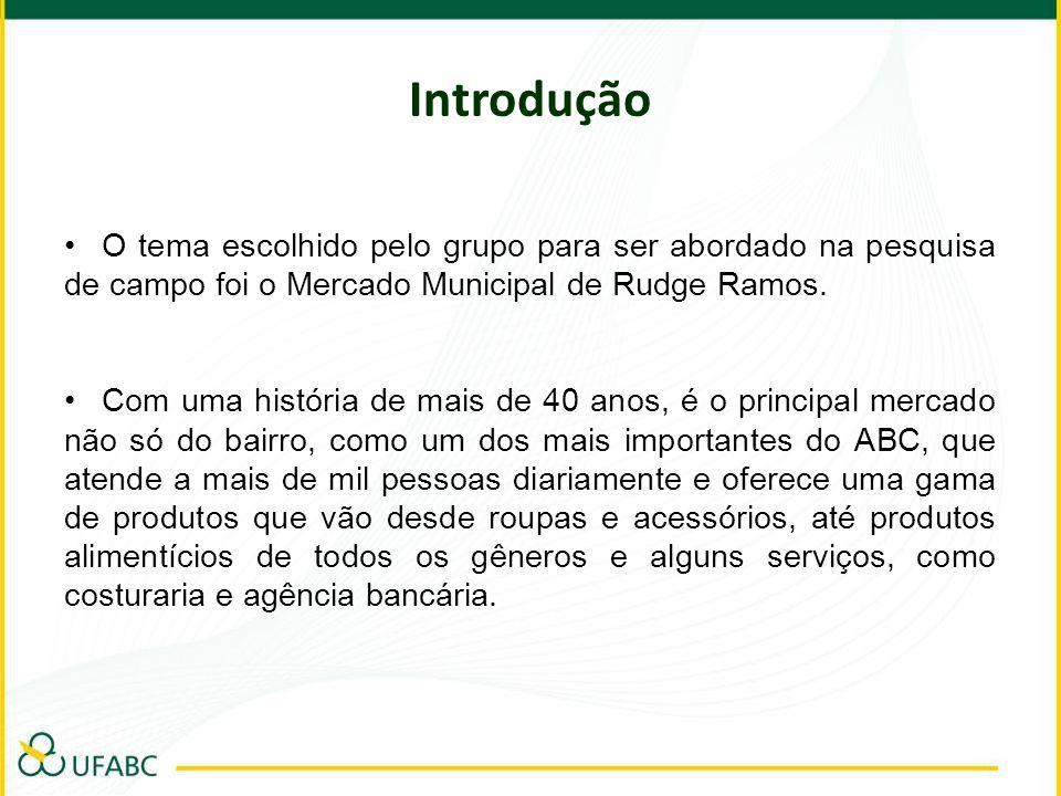Introdução O tema escolhido pelo grupo para ser abordado na pesquisa de campo foi o Mercado Municipal de Rudge Ramos. Com uma história de mais de 40 a