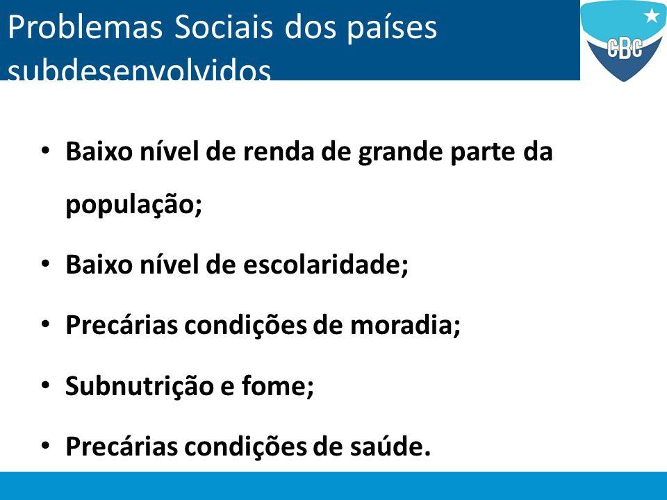Problemas Sociais dos países subdesenvolvidos Baixo nível de renda de grande parte da população; Baixo nível de escolaridade; Precárias condições de m