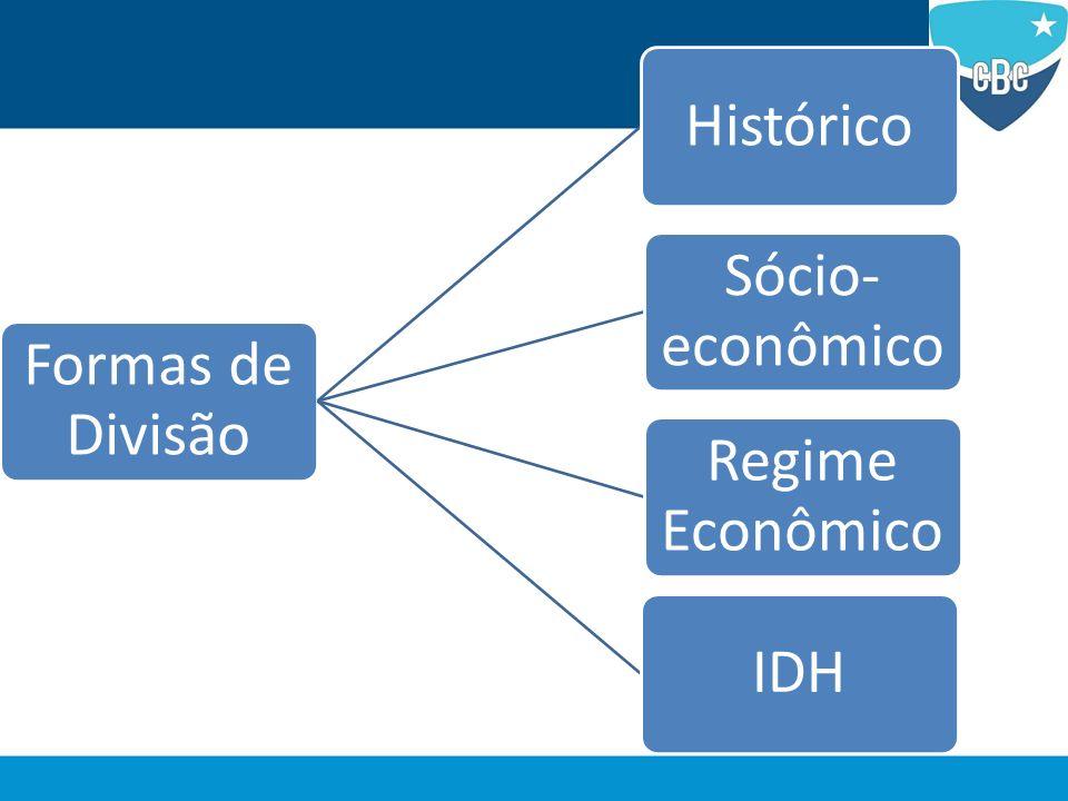 Divisão Sócio-econômica Leva em consideração as desigualdades entre as nações no âmbito social e principalmente econômico.