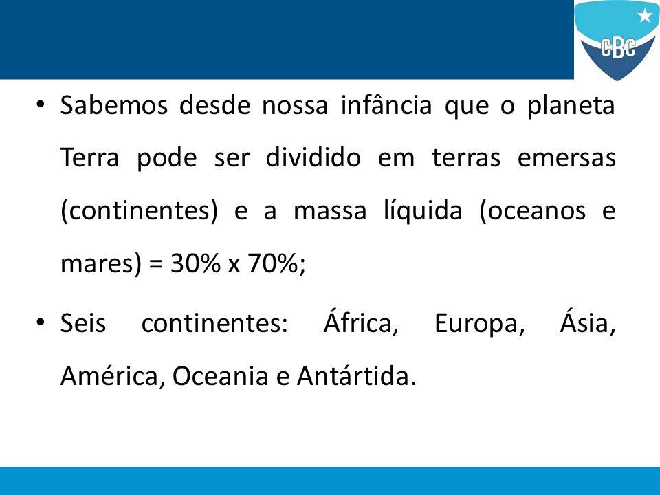 Sabemos desde nossa infância que o planeta Terra pode ser dividido em terras emersas (continentes) e a massa líquida (oceanos e mares) = 30% x 70%; Se
