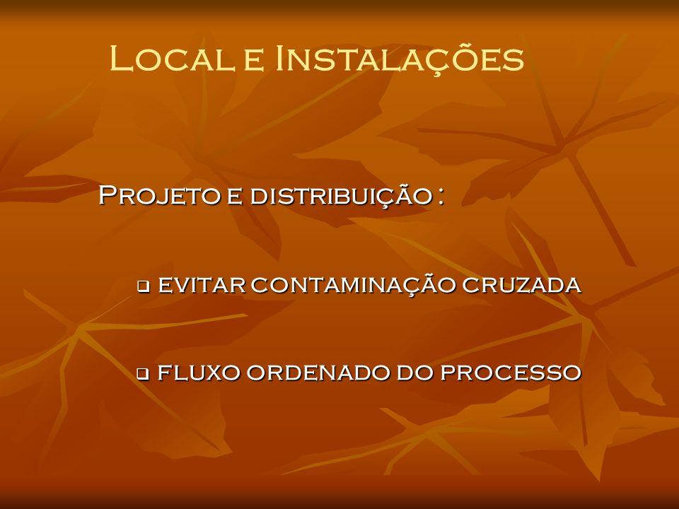Projeto e distribuição : Projeto e distribuição : evitar contaminação cruzada evitar contaminação cruzada fluxo ordenado do processo fluxo ordenado do processo Local e Instalações