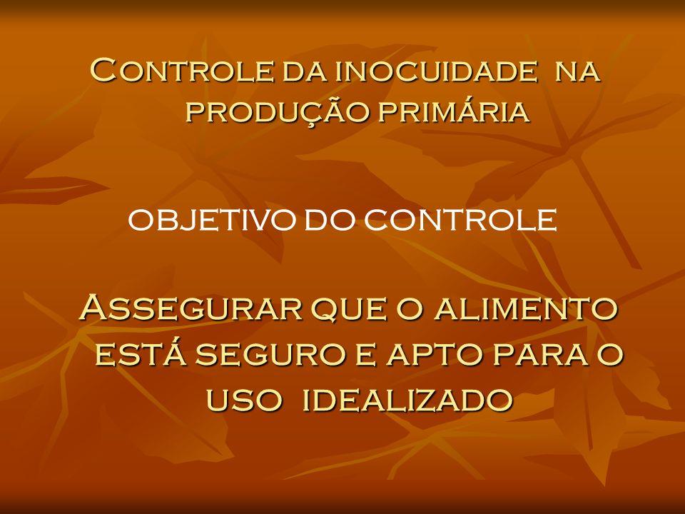 Assegurar que o alimento está seguro e apto para o uso idealizado Controle da inocuidade na Controle da inocuidade na produção primária produção primária OBJETIVO DO CONTROLE
