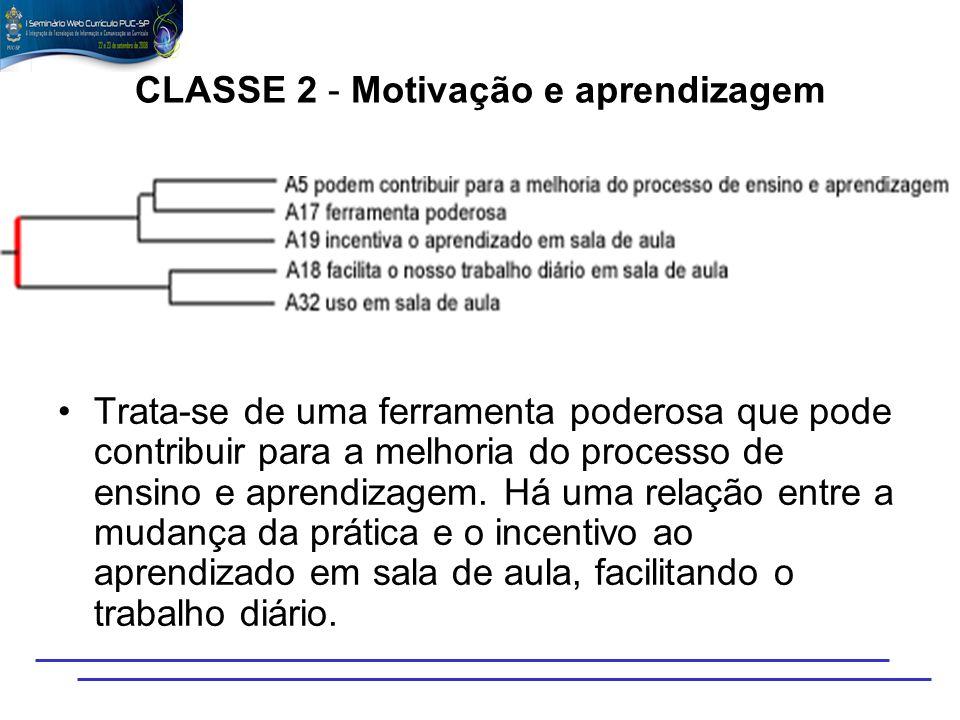 CLASSE 2 - Motivação e aprendizagem Trata-se de uma ferramenta poderosa que pode contribuir para a melhoria do processo de ensino e aprendizagem. Há u