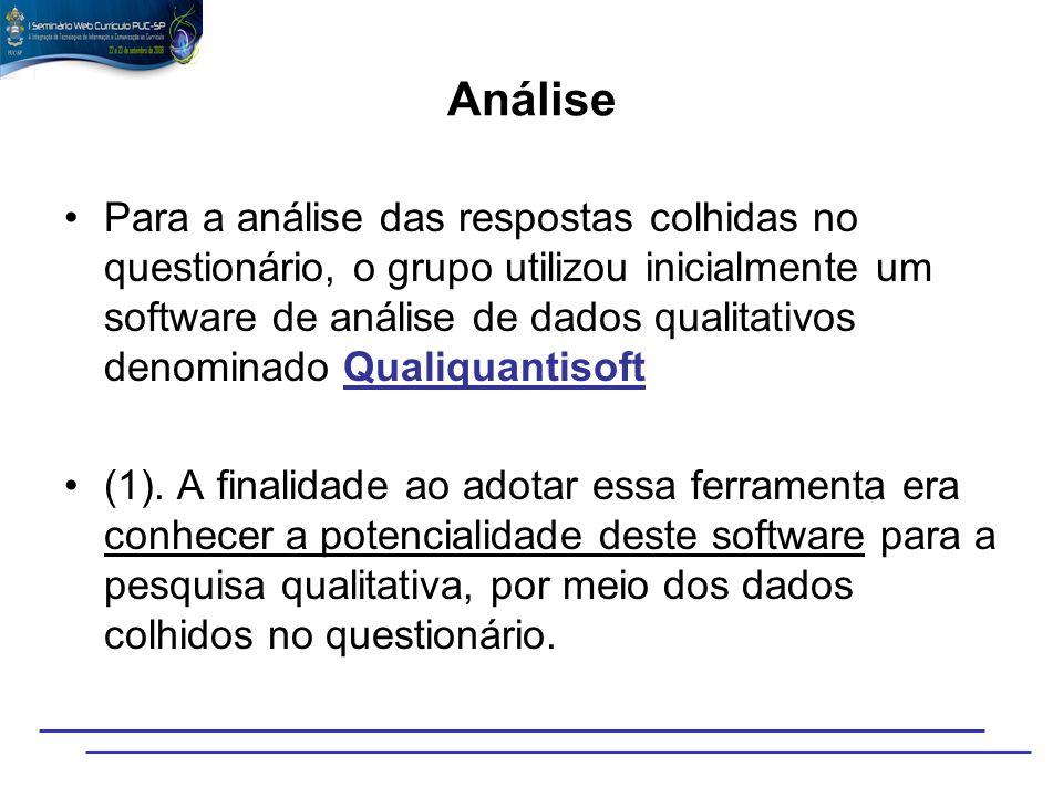 Análise Para a análise das respostas colhidas no questionário, o grupo utilizou inicialmente um software de análise de dados qualitativos denominado Q