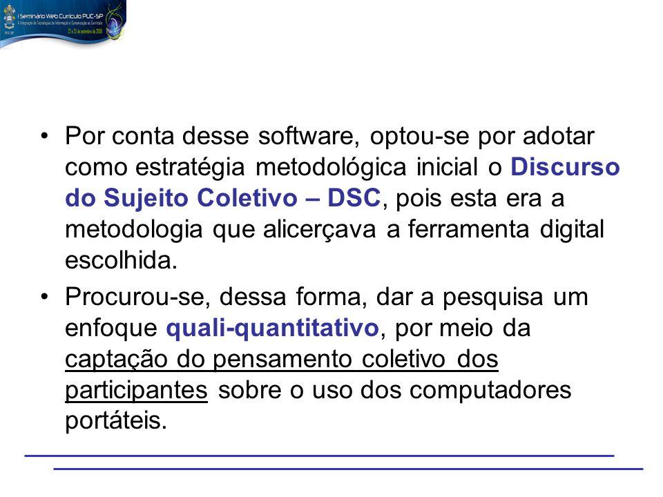 Por conta desse software, optou-se por adotar como estratégia metodológica inicial o Discurso do Sujeito Coletivo – DSC, pois esta era a metodologia q