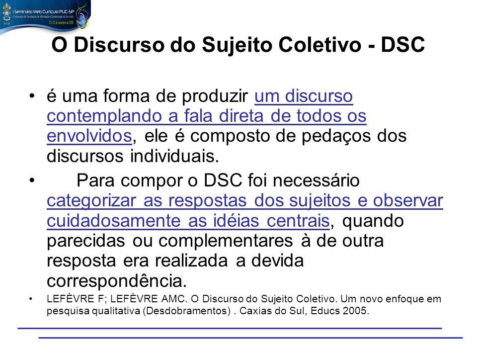 O Discurso do Sujeito Coletivo - DSC é uma forma de produzir um discurso contemplando a fala direta de todos os envolvidos, ele é composto de pedaços
