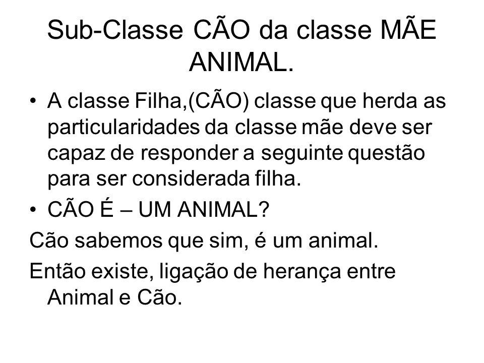 Sub-Classe CÃO da classe MÃE ANIMAL. A classe Filha,(CÃO) classe que herda as particularidades da classe mãe deve ser capaz de responder a seguinte qu