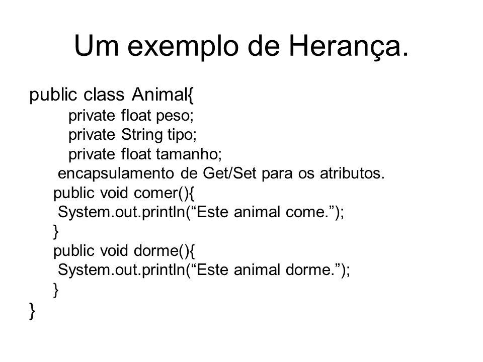 Um exemplo de Herança. public class Animal{ private float peso; private String tipo; private float tamanho; encapsulamento de Get/Set para os atributo