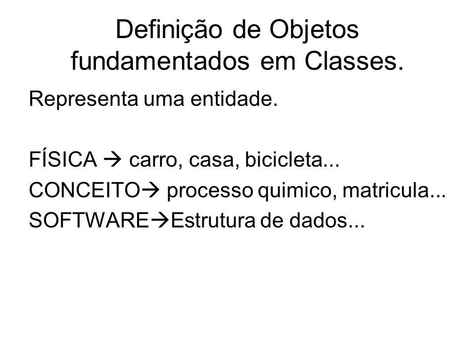 Definição de Objetos fundamentados em Classes. Representa uma entidade. FÍSICA carro, casa, bicicleta... CONCEITO processo quimico, matricula... SOFTW