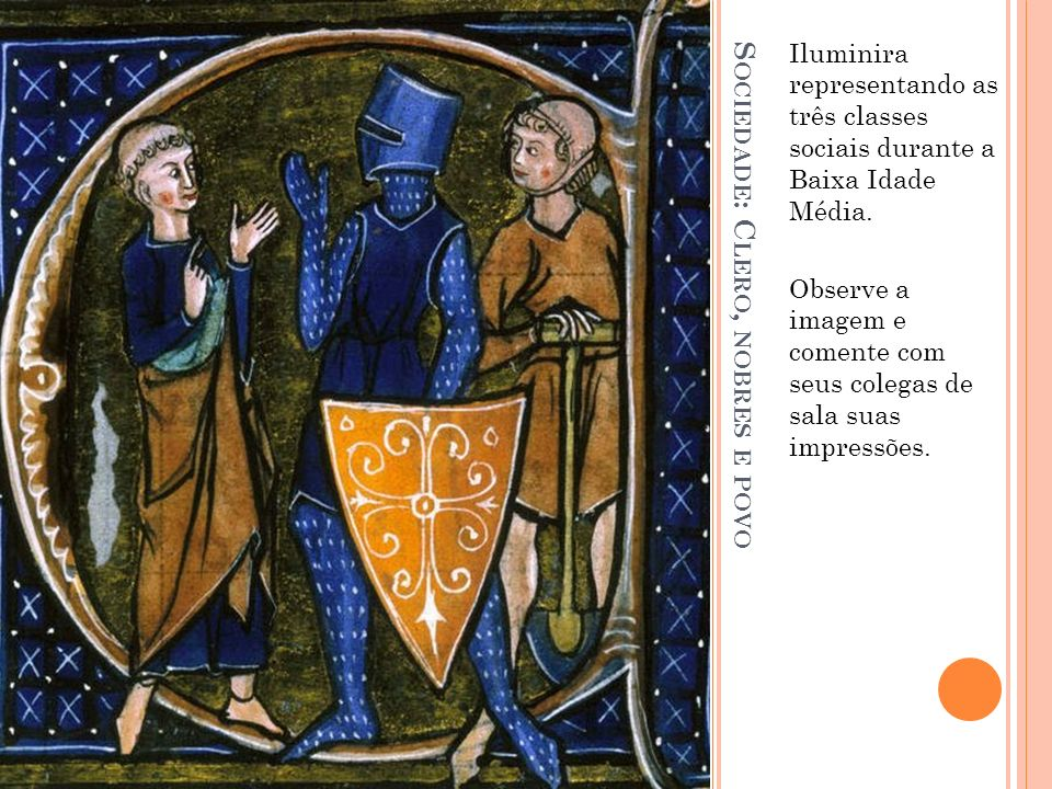 S OCIEDADE : C LERO, NOBRES E POVO Iluminira representando as três classes sociais durante a Baixa Idade Média. Observe a imagem e comente com seus co