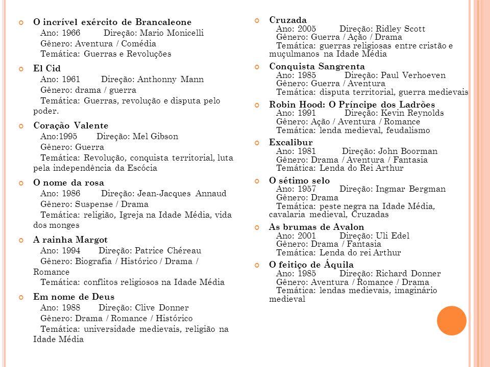 O incrível exército de Brancaleone Ano: 1966 Direção: Mario Monicelli Gênero: Aventura / Comédia Temática: Guerras e Revoluções El Cid Ano: 1961 Direção: Anthonny Mann Gênero: drama / guerra Temática: Guerras, revolução e disputa pelo poder.