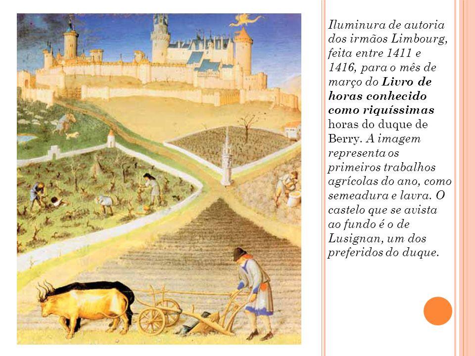 Este afresco (pintura mural) italiano do século XV representa servos trabalhando na terra enquanto damas da nobreza passeiam pelos campos.
