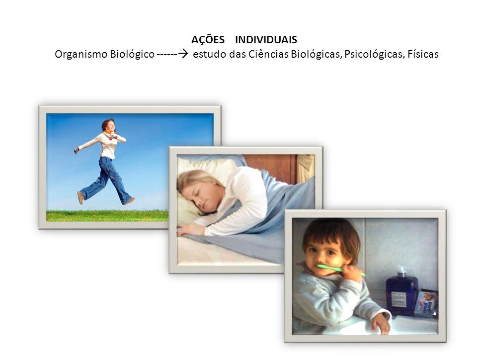 AÇÕES INDIVIDUAIS Organismo Biológico ------ estudo das Ciências Biológicas, Psicológicas, Físicas