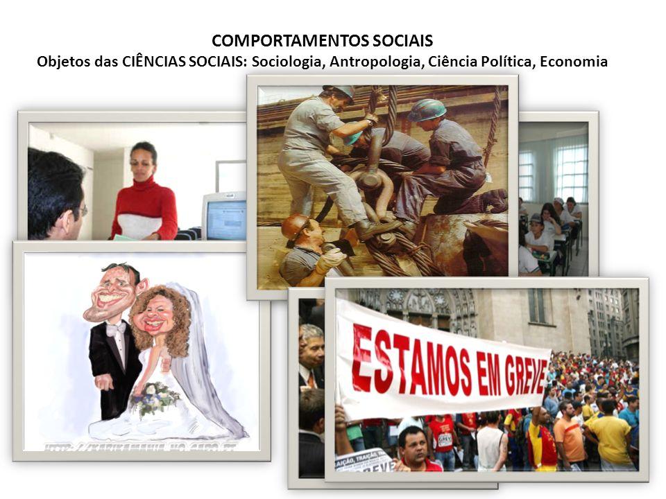 COMPORTAMENTOS SOCIAIS Objetos das CIÊNCIAS SOCIAIS: Sociologia, Antropologia, Ciência Política, Economia