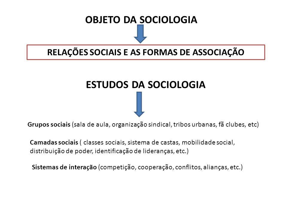 OBJETO DA SOCIOLOGIA RELAÇÕES SOCIAIS E AS FORMAS DE ASSOCIAÇÃO ESTUDOS DA SOCIOLOGIA Grupos sociais (sala de aula, organização sindical, tribos urban