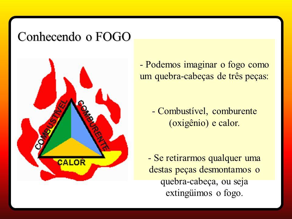 - Podemos imaginar o fogo como um quebra-cabeças de três peças: - Combustível, comburente (oxigênio) e calor.