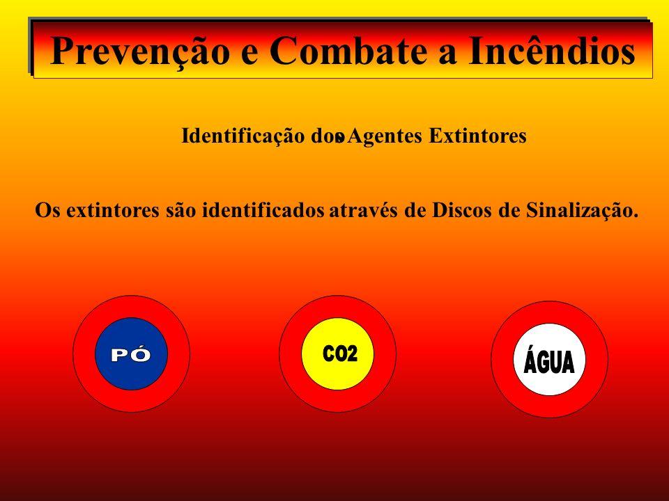 Identificação dos Agentes Extintores o Prevenção e Combate a Incêndios Os extintores são identificados através de Discos de Sinalização.
